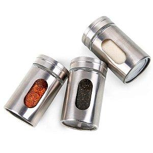 Porta Condimentos Tempero em Vidro e Inox c/ Regulação