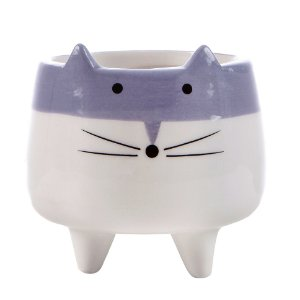 Pote p/ Armazenamento Pequeno em Porcelana Gato