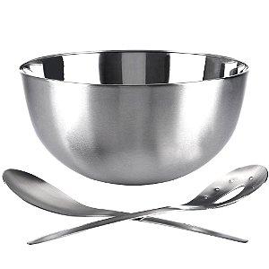 Saladeira Bowl Aço Inoxidável c/ Talheres Misturadores 24 cm