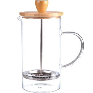 Cafeteira Prensa Francesa French Press Bambu e Vidro 600 ml