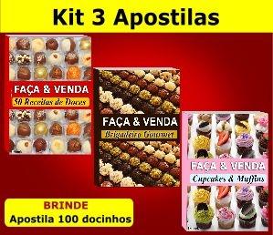 Kit 3 Apostilas Faça e Venda - Doces, Brigadeiros e Cupcakes