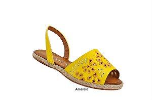 Sandália Avarca Becc boo com Bordado floral Amarelo