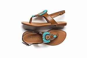 Sandálias com Afivelamento Lateral e Cabedal Azul Claro