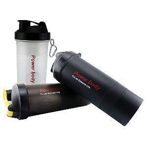 Garrafa Coqueteleira Shaker 3 Em 1 Power Body 600ml
