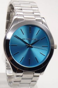 Michael Kors Slim Mk3292 Prata Fundo Azul Tuquesa 5257d7b797