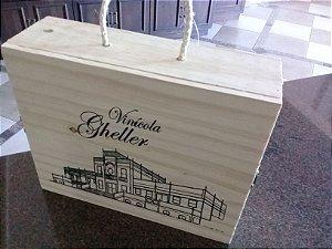 Caixa de madeira para 3 garrafas de vinhos