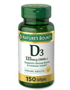 Nature's Bounty D3 125 mcg (5000IU) - 150 Softgels