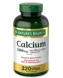 Nature's Bounty Calcium 1200mg Plus 25mcg 1,000 IU Vitamina D - 220 Softgels