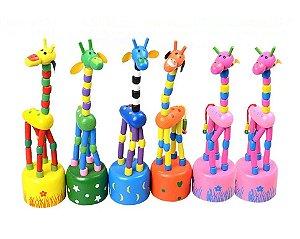Girafinha Articulada Madeira Brinquedo Decoração Pedaógico