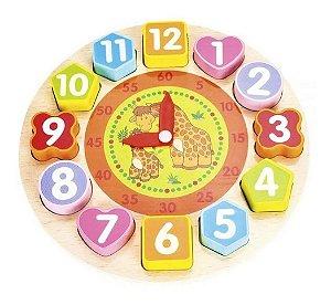 Relógio Colorido Pedagógico Aprenda Brincando Woodtoys