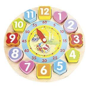 Relógio Pedagógico Educativo Woodtoys Aprenda Brincando