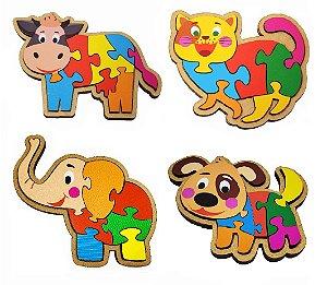 Kit c/ 4 Quebra Cabeça de Animais MDF Pedagógico Kids