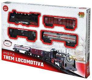 Pista Trem Locomotiva Com Luz e Som com 85,5 cm Completo