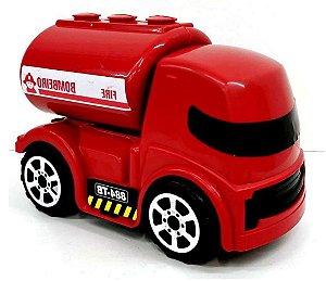 Caminhão de BOMBEIRO 15cm Caminhãozinho de Plástico Vermelho