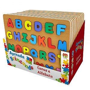 Tabuleiro Cores e Alfabeto - Aprenda Brincando Didático Woodtoy
