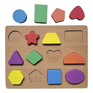 Tabuleiro Cores e Formas - Aprenda Brincando Didático Woodtoy