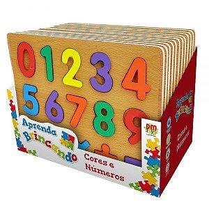 Tabuleiro Cores e Números - Aprenda Brincando Didático Woodtoy
