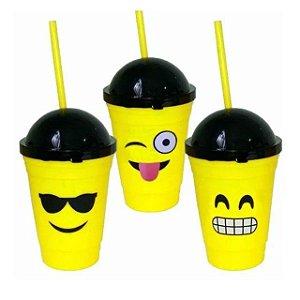Copo Emoticons Emoji Plástico c/ Tampa Redonda Escolar Kids
