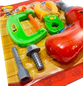 Kit Ferramentas Infantil com Alicate e Grampo Kids Oficina