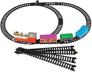 Trem Clássico com Locomotiva e Vagões e Trilhos Pilhas AA