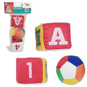 kit Sensorial Bola e Dados Coloridos Baby Kids Fofinho 3 Peças