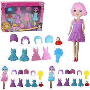 Boneca Maggie Ela Troca de Roupa Peruca e Acessórios Meninas