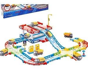 Pista Grande e Garagem + 2 Caminhões Brinquedo Divertido
