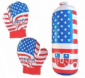 Kit Boxe Infantil com 3 peças U.S.A - Azul com Vermelho