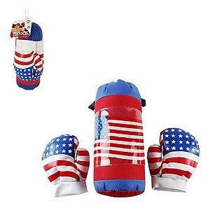 Kit Boxe Infantil com 3 peças U.S.A - Branco com Vermelho