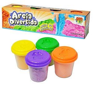 Kit 4 Potes de Areia Divertida 280g Massinha Não Gruda na Mão