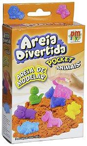 Areia Divertida Pocket Animais Fofinhos e Forminhas Coloridas
