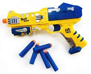 Pistola Nerf Colorida com 6 Dardos de Espuma Brinquedo
