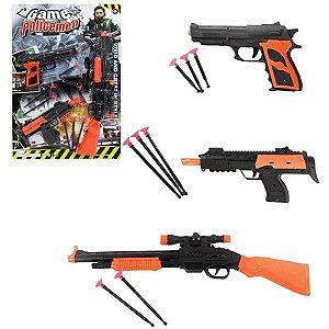 Kit Policial Infantil Com 3 Armas 8 Dardos Brinquedo Policial