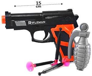 Kit Policial Com 1 Pistola 3 Dardos e 1 Granada Brinquedo Infantil