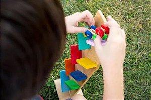 Pista Maluca Zig Zag c/ Carrinho Brinquedo em Madeira Educativo