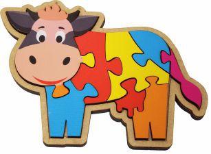 Quebra-Cabeça Infantil Vaca Educativo Pedagógico em Madeira