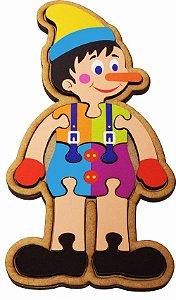 Quebra-Cabeça do Pinóquio Brinquedo Educativo em Madeira