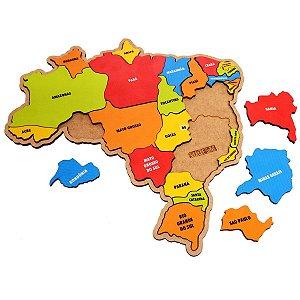 Mapa do Brasil 26 Peças Em Madeira Educativo Colorido