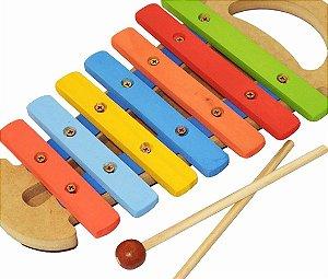 Xilofone Infantil Musical Instrumento Educativo Com Alça