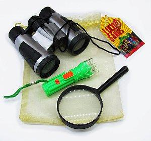 kit Detetive Infantil Binóculo Lanterna e Lupa Festa DPA
