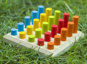 Pinos de Encaixe Brinquedo Colorido Educativo Woodtoy