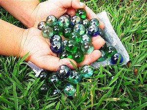 50 Bolinhas de Gude Colorida Espelhada Importada de Vidro