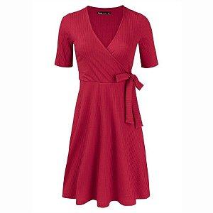 Vestido Curto Básico Em Malha Canelada - Vermelho