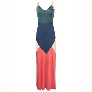 Vestido Longo Com Decote V E Alças Finas - Azul