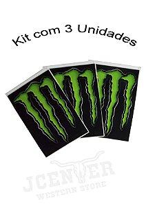 Kit com 3 unidades Adesivo Monster Garra