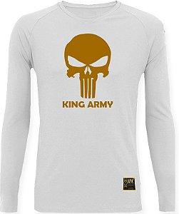 CAMISETA STYLE KING BRASIL - ARMY BRANCA/DOURADO