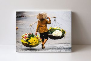 Quadro em Canvas vendedor de flores vietnamita