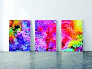 Kit 3 Quadros  em Tecido Canvas abstrato