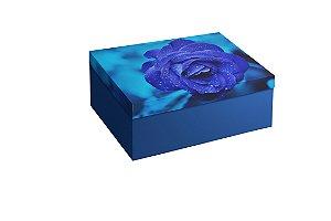 Caixa Retangular Flor Azul