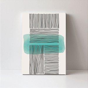 Quadro em Canvas Abstrato Moderno Verde Risco Preto
